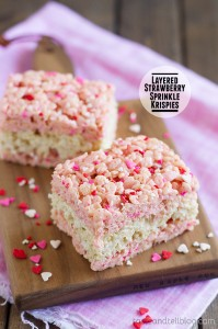 Layered Strawberry Sprinkle Krispies on Taste and Tell
