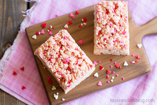 Layered Strawberry Rice Krispies Treats