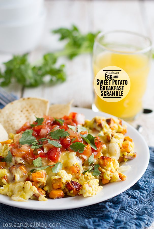 Mexican Egg and Sweet Potato Breakfast Scramble