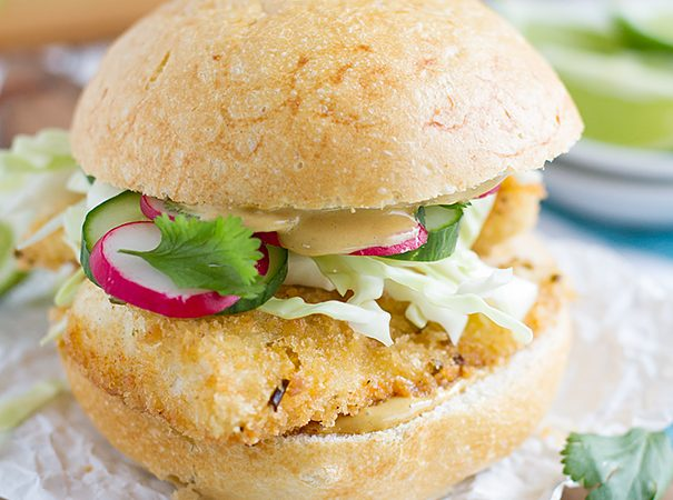 Panko Crusted Fishwiches with Wasabi Tartar Sauce on Taste and Tell