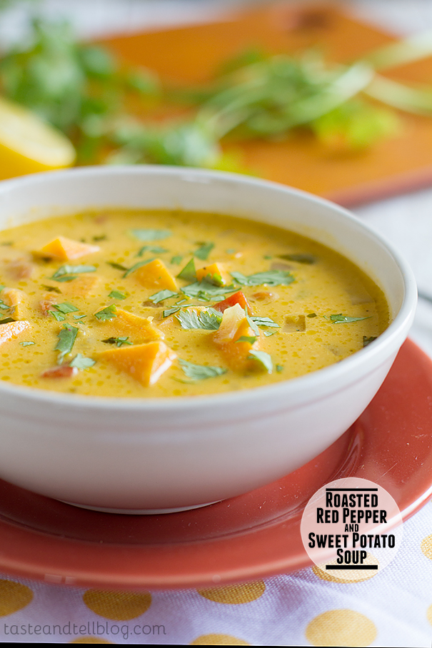 Roasted Red Pepper and Sweet Potato Soup on Taste and Tell