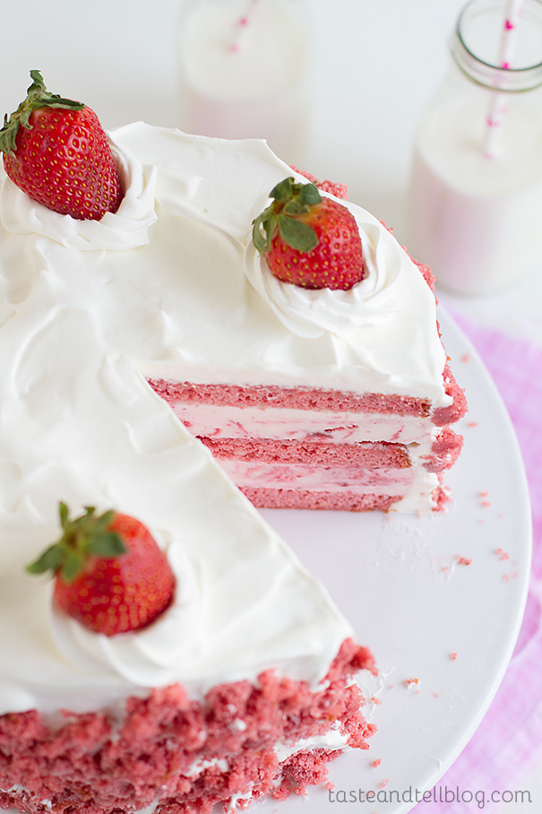 Strawberry Milkshake Ice Cream Cake
