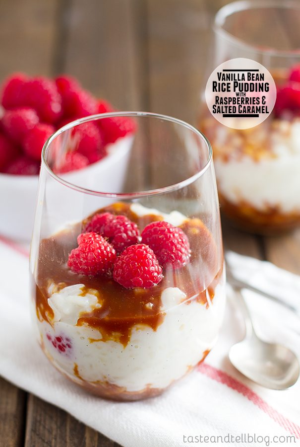 Vanilla Bean Rice Pudding with Raspberries and Salted Caramel