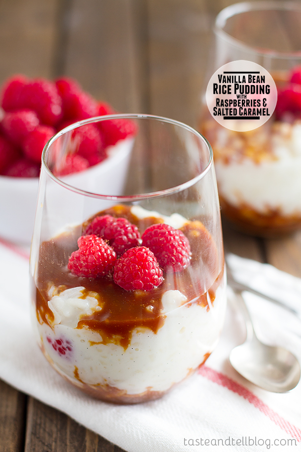 Vanilla Bean Rice Pudding with Raspberries and Salted Caramel on Taste and Tell