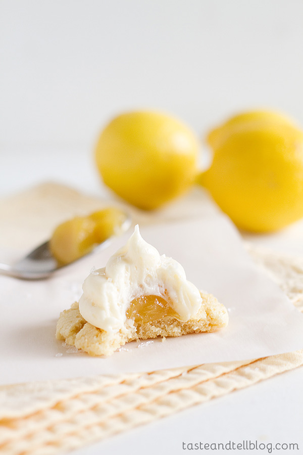 You can't beat these Lemon Marshmallow Cookies - chewy sugar cookies that are topped with a dollop of lemon curd and then covered with a marshmallow frosting.