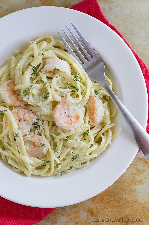 Poblano Cream Pasta with Shrimp {Fridays with Rachael Ray ...