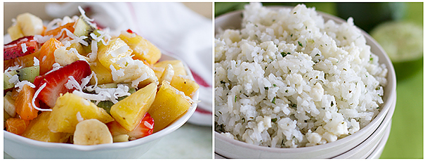 Tropical Fruit Salad and Cilantro Rice