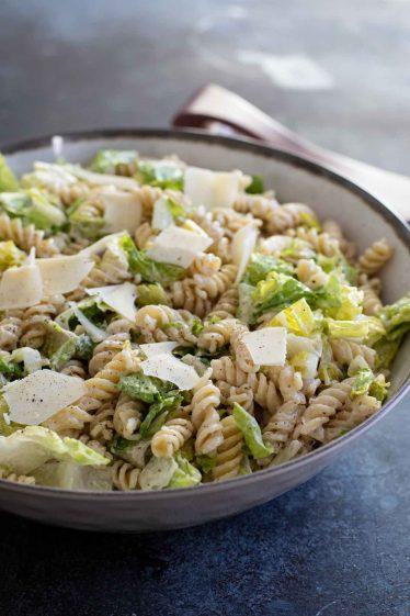 Caesar Salad with Pasta with Homemade Caesar Dressing