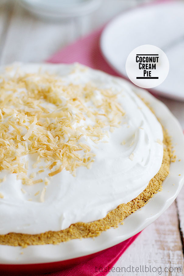 Coconut Cream Pie - a creamy coconut pie with a cookie crust and fresh whipped cream.