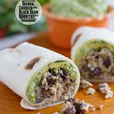 Quinoa Chicken and Black Bean Burritos with Chipotle Guacamole on Taste and Tell
