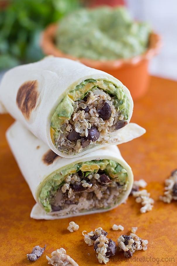 Quinoa Chicken and Black Bean Burritos with Chipotle Guacamole