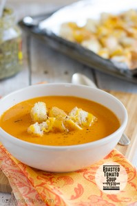 Roasted Tomato Soup with Pesto and Cheesy Croutons