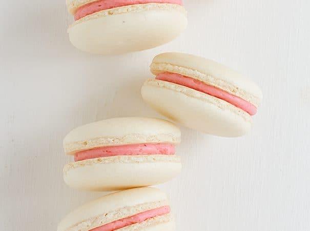 Strawberry Colada Macarons