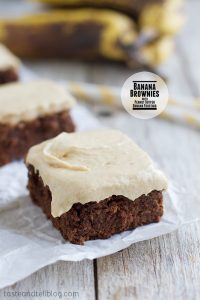 Banana Brownies with Peanut Butter Banana Frosting on Taste and Tell