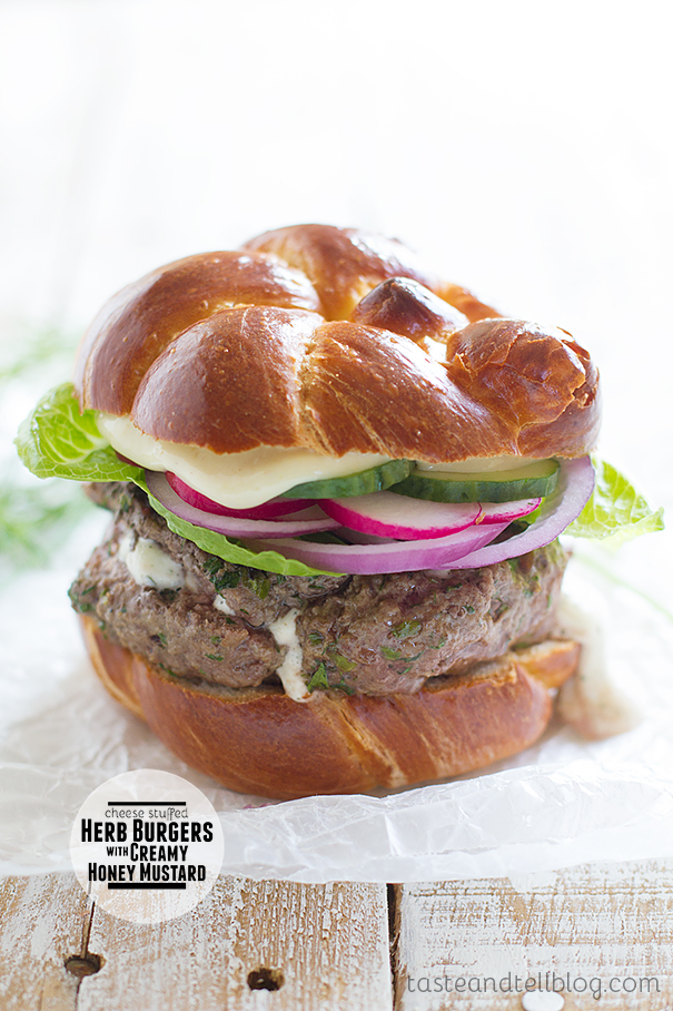 Cheese-Stuffed Herb Burgers with Creamy Honey Mustard