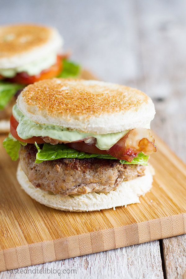 These Club Burger Sliders are slider sized turkey burgers topped with bacon, lettuce, tomatoes and an avocado-ranch dressing.