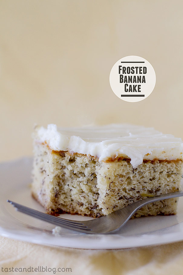 Next time you find yourself with overripe bananas, try this Frosted Banana Cake for something different than banana bread!
