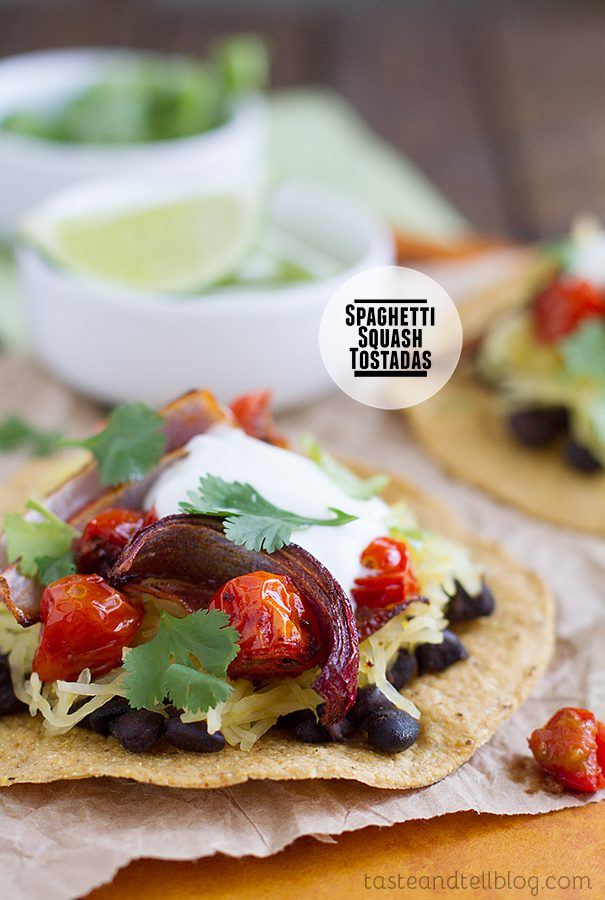 Spaghetti Squash Tostadas on Taste and Tell