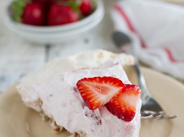 Strawberry Cream Angel Pie