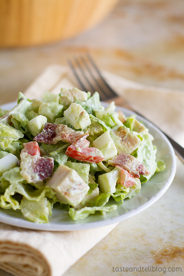 Recipe for Chopped Cobb Salad with Avocado Ranch Salad Dressing