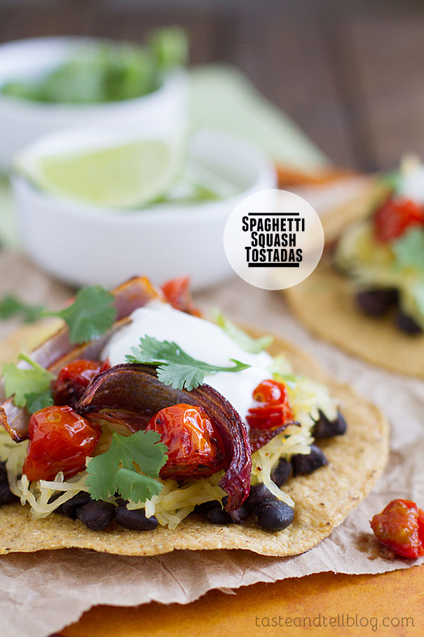 This vegetarian tostada is filled with roasted tomatoes and onions, spaghetti squash, and black beans.