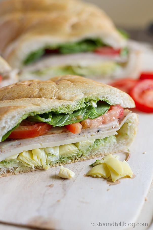 Turkey Artichoke and Basil Subs on Taste and Tell