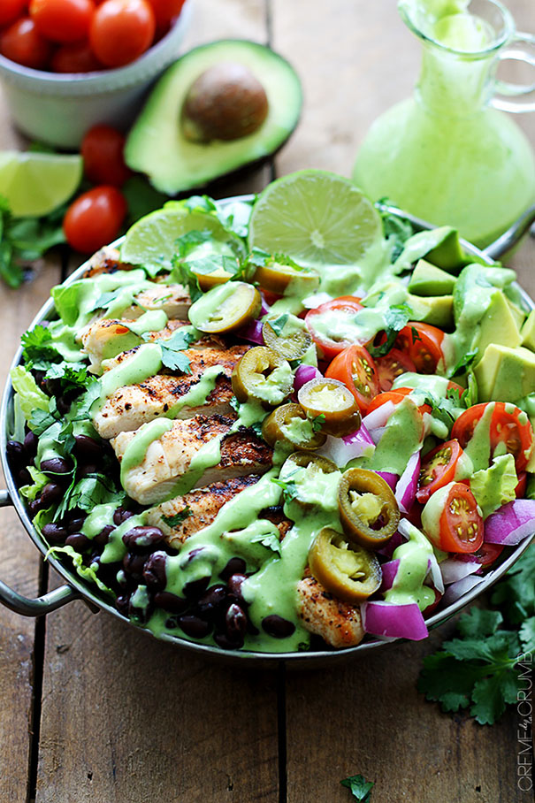 Grilled Chicken Tacos Salads with Spicy Cilantro Lime Dressing from Creme de la Crumb
