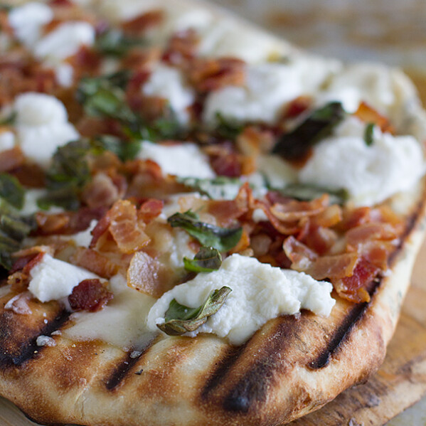 Grilled White Pizza Recipe with Bacon and Basil