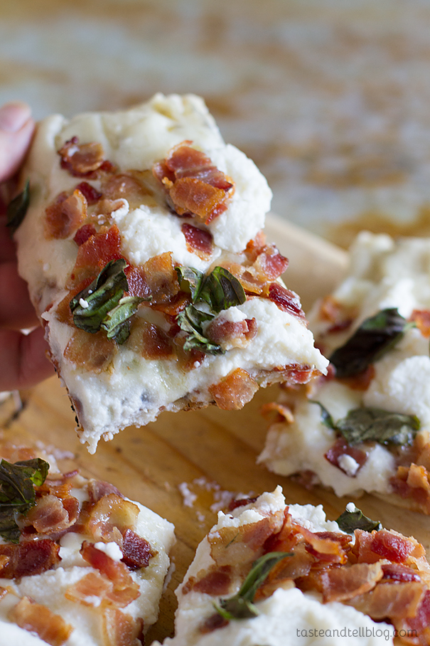 Recipe for Grilled White Pizza with Bacon and Basil