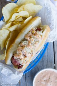 Hot Dog gone Reuben with this Pastrami Wrapped Hot Dog Recipe
