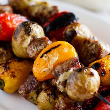 close up of Steak and Potato Kabobs
