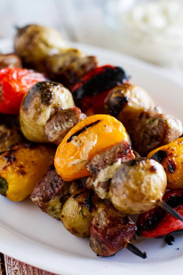 close up of Steak and Potato Kabobs