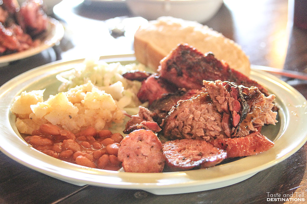 Brisket, Sausage and Ribs at The Salt Lick in Austin Texas