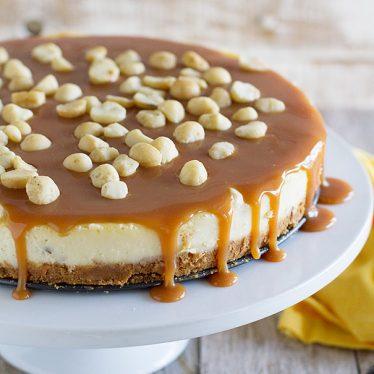 White Chocolate Cheesecake with Macadamia Nuts and Caramel