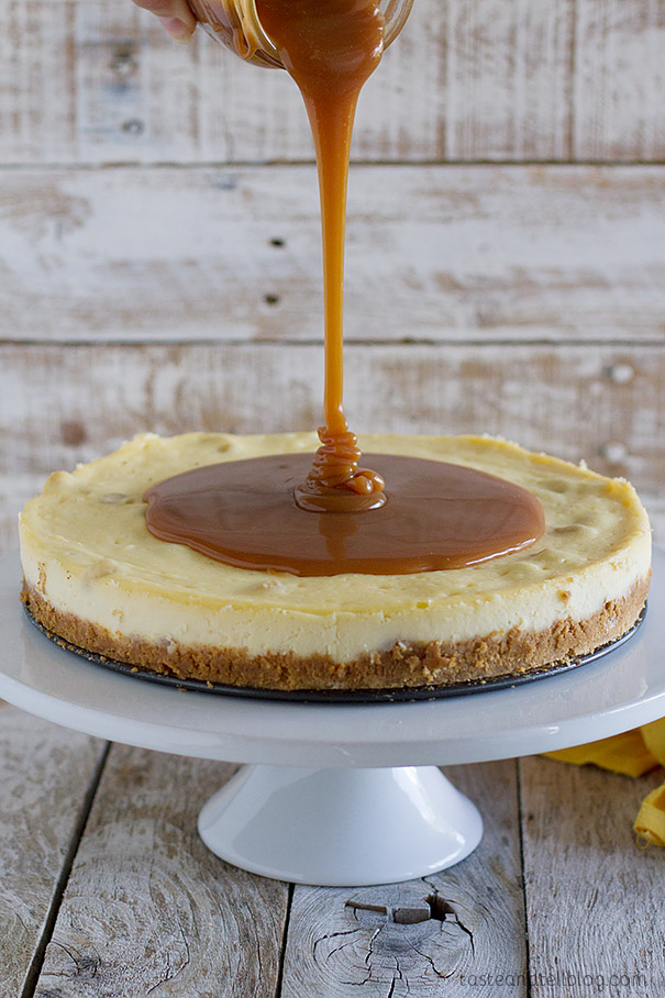Pouring Caramel on White Chocolate Cheesecake
