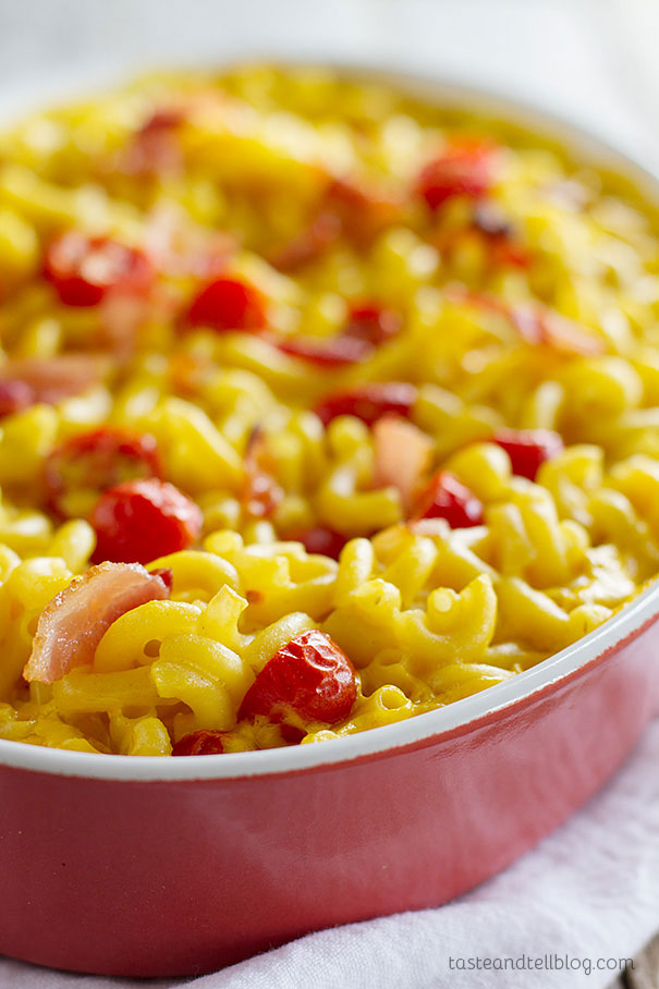 BLT Baked Mac and Cheese - all of the flavors of a blt in a comforting macaroni and cheese.
