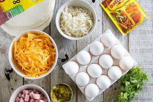 Ingredients for Campfire Breakfast Burritos