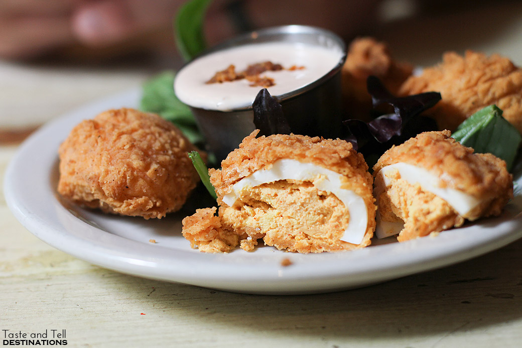 Deep Fried Deviled Eggs from Lucy's Fried Chicken - Austin TX