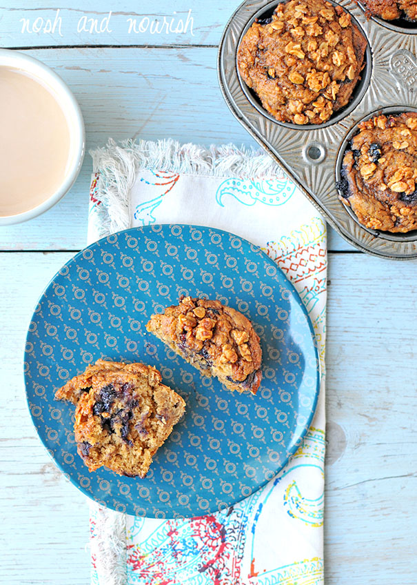 Nosh and Nourish - Blueberry Crumble Muffins