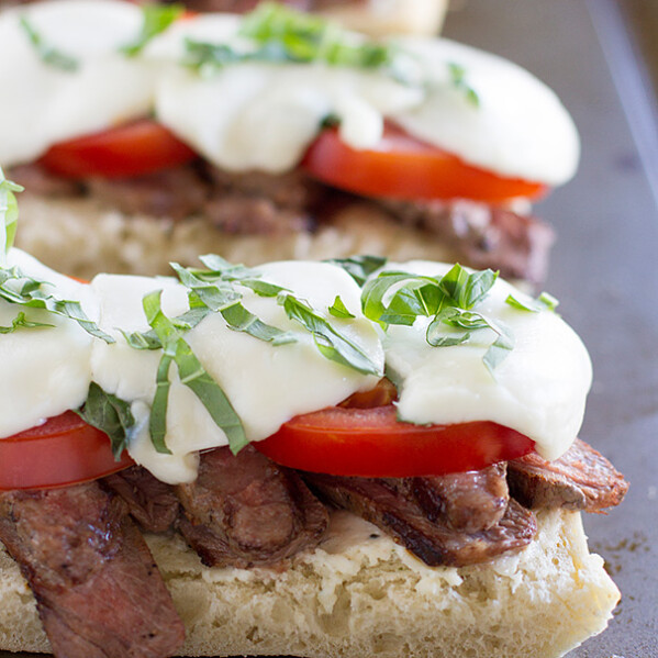 Delicious Summer Open Face Caprese Steak Sandwich