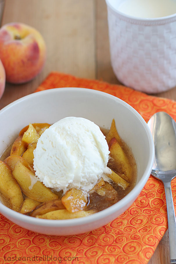 Fresh peaches are slow cooked with sugar and spices and served warm with ice cream in these simple Scalloped Peaches.