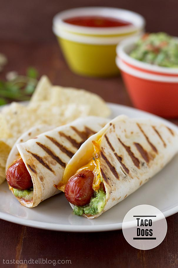 Hot dogs go Mexican with these hot dogs that are topped with guacamole and salsa and wrapped in a flour tortilla.