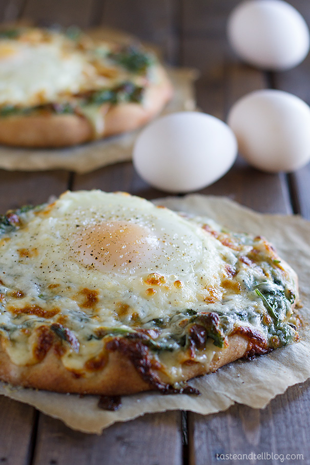 Creamed Spinach Egg Pizza | Taste and Tell
