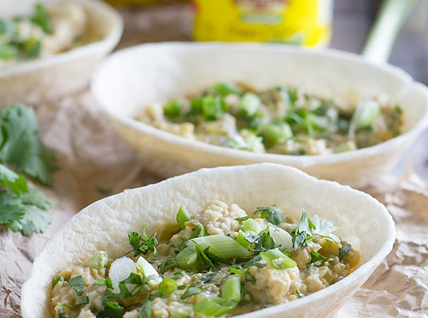 Mashed Chickpea and Green Chile Bowls