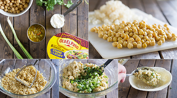 Easy lunch idea - Mashed Chickpea and Green Chile Bowls