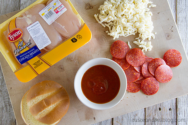 Simple Ingredients for Pizza Topped Grilled Chicken Sandwich Recipe