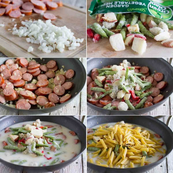 photos of steps to make skillet pasta with sausage
