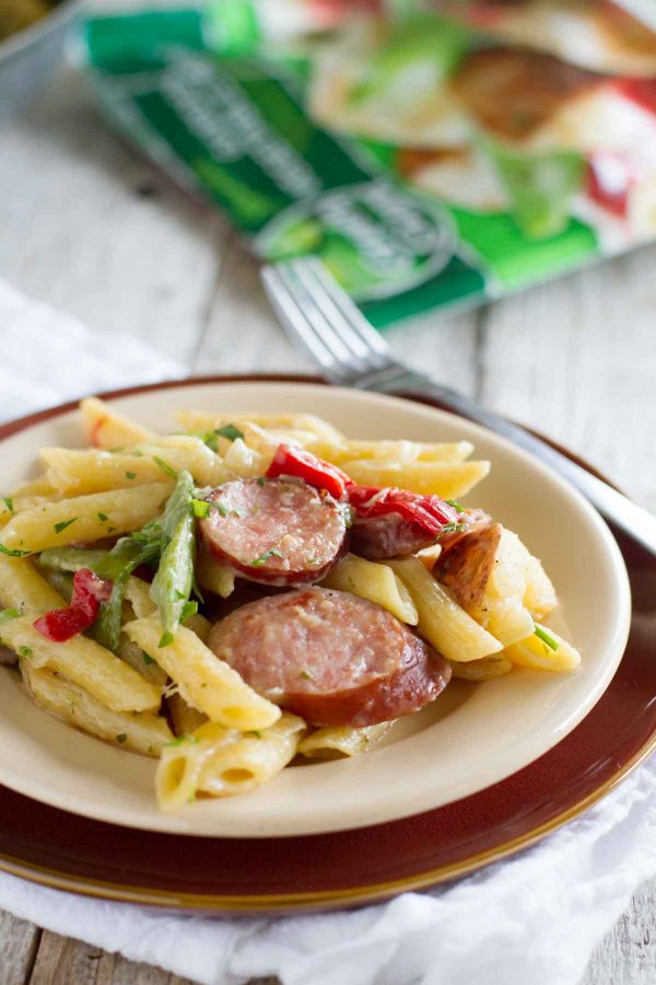 Skillet Pasta with Sausage on a plate