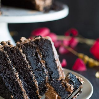 Dark and rich, this Dark Chocolate Cake with Nutella Buttercream is the perfect centerpiece for your Halloween party. Chocolate lovers will instantly fall in love with this dark chocolate cake!