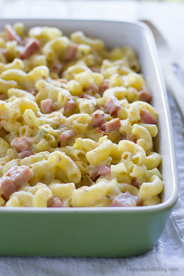 Homemade Macaroni and Cheese with Ham and Leeks - Creamy homemade macaroni and cheese is made with gruyere cheese and filled with leeks and ham for an irresistible version of macaroni and cheese that the whole family will love.